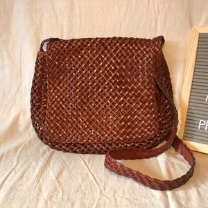 Vintage 90s Woven Braided Leather Bag in Cognac